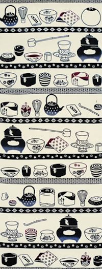 梨園染手拭い・茶道具