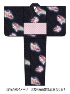 桜七軒浴衣反物 金魚