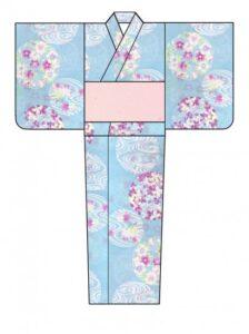 浴衣・優華壇・水色に花丸と光琳水